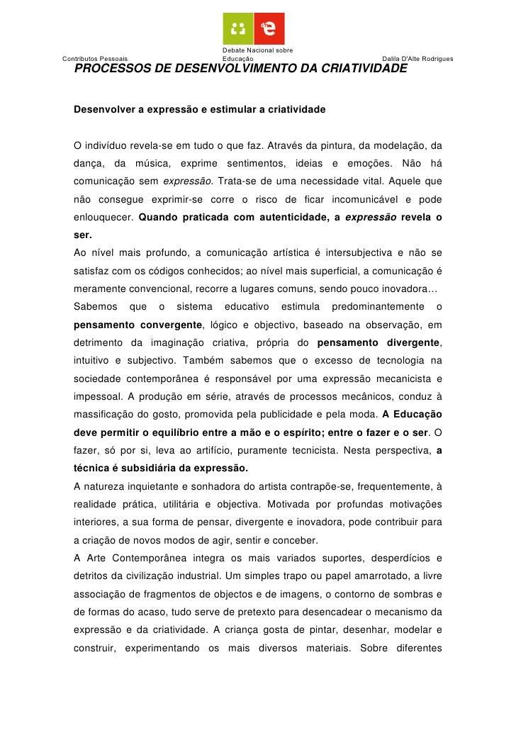 Debate Nacional sobre Contributos Pessoais                       Educação                             Dalila D'Alte Rodrig...