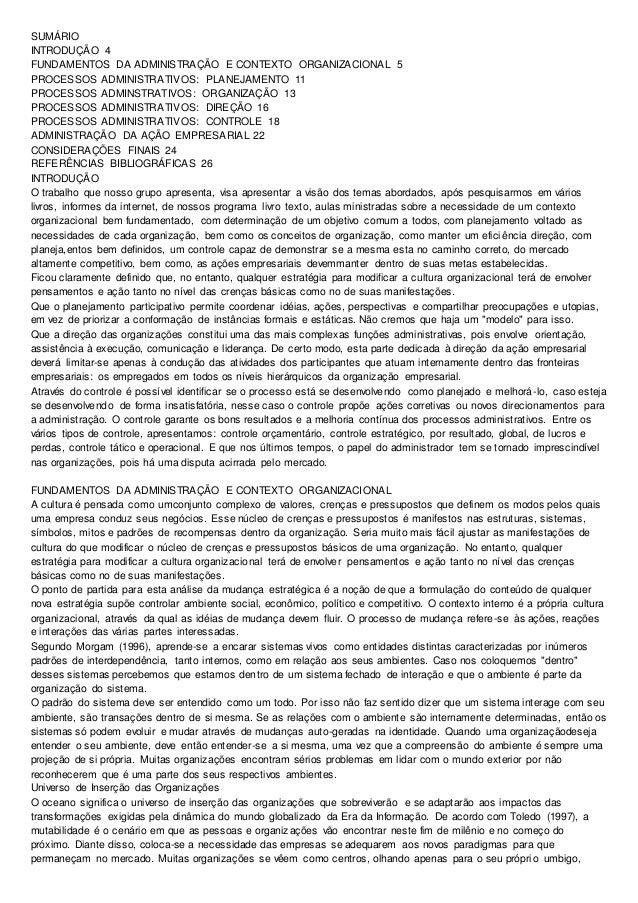 SUMÁRIO INTRODUÇÃO 4 FUNDAMENTOS DA ADMINISTRAÇÃO E CONTEXTO ORGANIZACIONAL 5 PROCESSOS ADMINISTRATIVOS: PLANEJAMENTO 11 P...