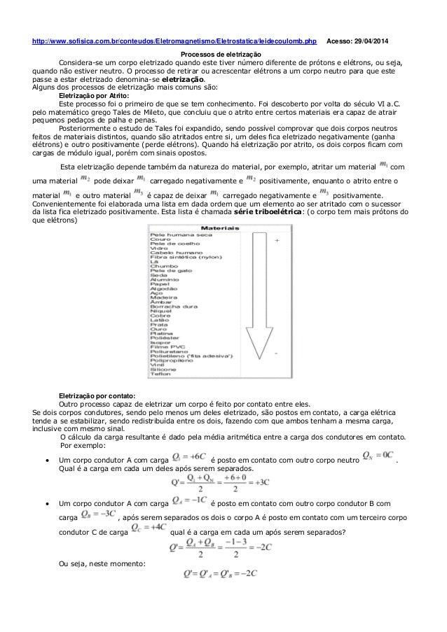 http://www.sofisica.com.br/conteudos/Eletromagnetismo/Eletrostatica/leidecoulomb.php Acesso: 29/04/2014 Processos de eletr...