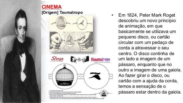 CINEMA [Origem] Taumatropo • Em 1824, Peter Mark Roget descobriu um novo princípio de animação, em que basicamente se uti...