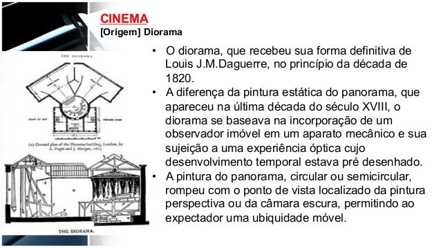 CINEMA [Origem] Diorama • O diorama, que recebeu sua forma definitiva de Louis J.M.Daguerre, no princípio da década de 18...