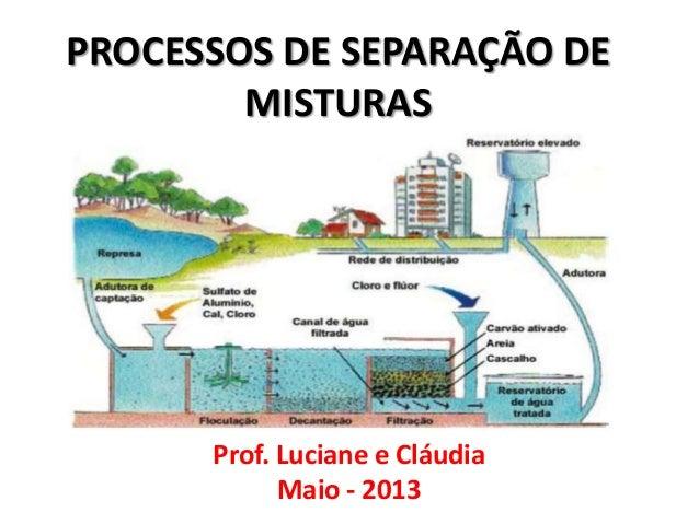 Prof. Luciane e CláudiaMaio - 2013PROCESSOS DE SEPARAÇÃO DEMISTURAS