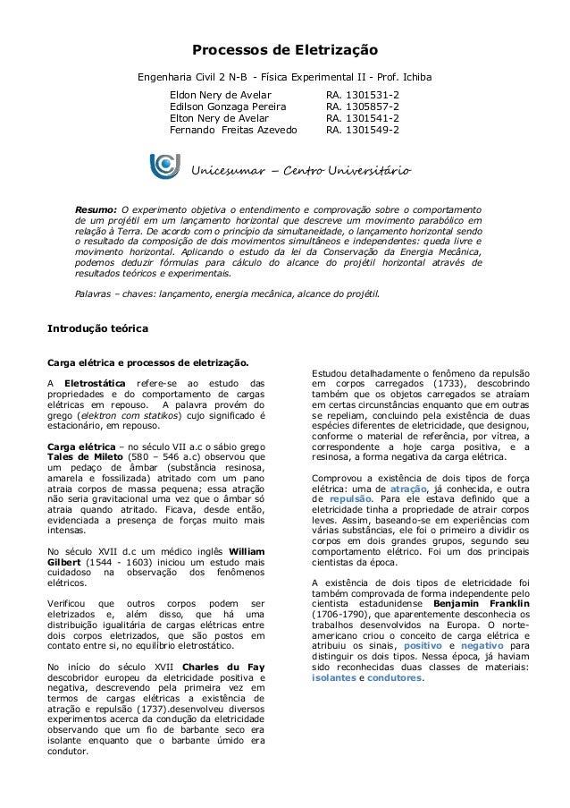 Processos de Eletrização Engenharia Civil 2 N-B - Física Experimental II - Prof. Ichiba Eldon Nery de Avelar RA. 1301531-2...