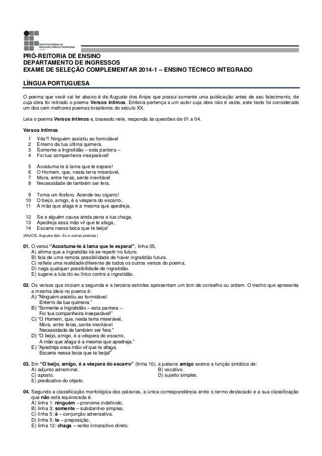 PRÓ-REITORIA DE ENSINO DEPARTAMENTO DE INGRESSOS EXAME DE SELEÇÃO COMPLEMENTAR 2014-1 – ENSINO TÉCNICO INTEGRADO LÍNGUA PO...