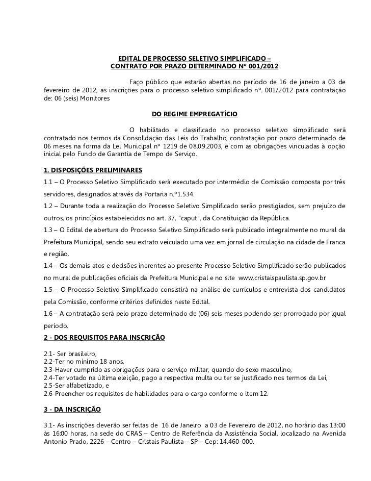 EDITAL DE PROCESSO SELETIVO SIMPLIFICADO –                       CONTRATO POR PRAZO DETERMINADO Nº 001/2012               ...