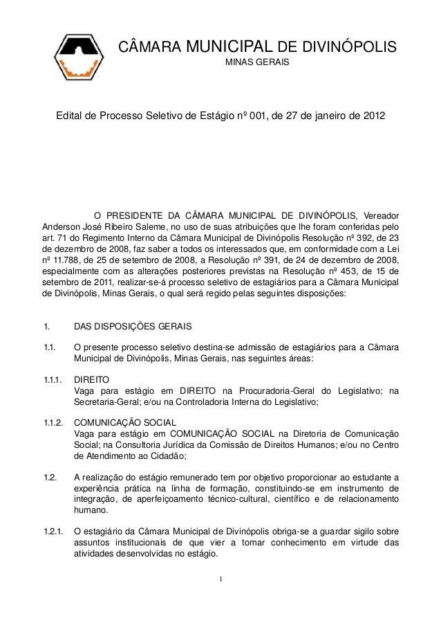 CÂMARAMUNICIPALDEDIVINÓPOLIS MINASGERAIS EditaldeProcessoSeletivodeEstágionº001,d...
