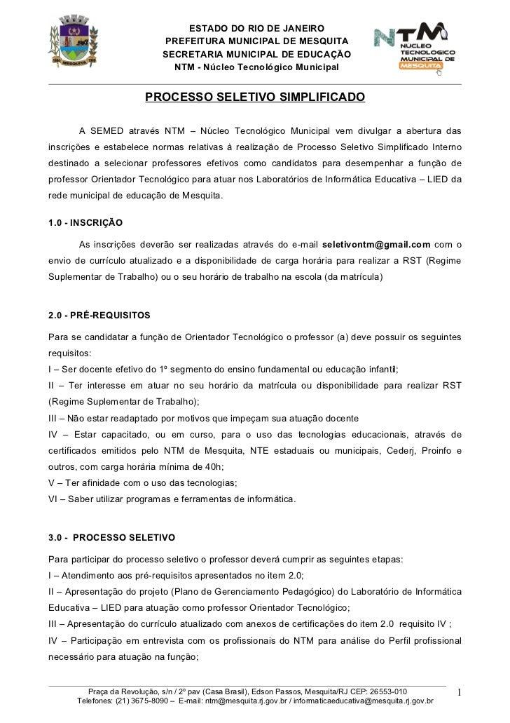 Processo seletivo simplificado 2012   ot-original
