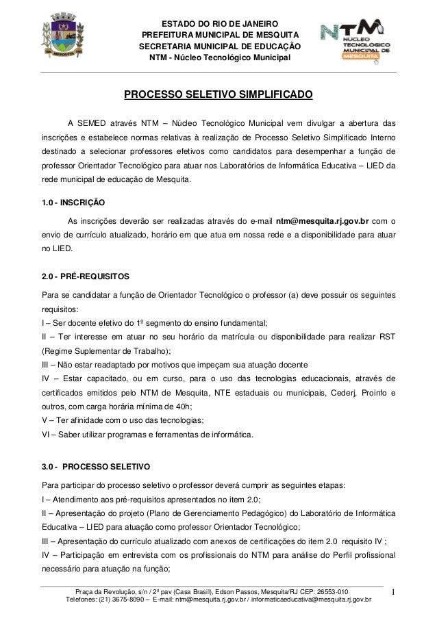 ESTADO DO RIO DE JANEIROPREFEITURA MUNICIPAL DE MESQUITASECRETARIA MUNICIPAL DE EDUCAÇÃONTM - Núcleo Tecnológico Municipal...