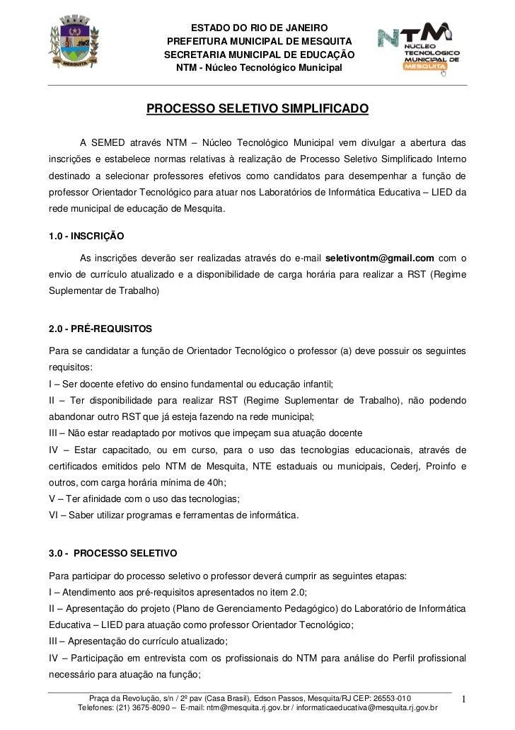 ESTADO DO RIO DE JANEIRO                              PREFEITURA MUNICIPAL DE MESQUITA                              SECRET...