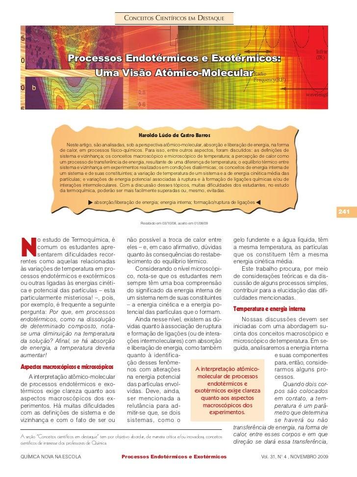 ConCeitos CientífiCos em Destaque                       Processos Endotérmicos e Exotérmicos:                           Um...