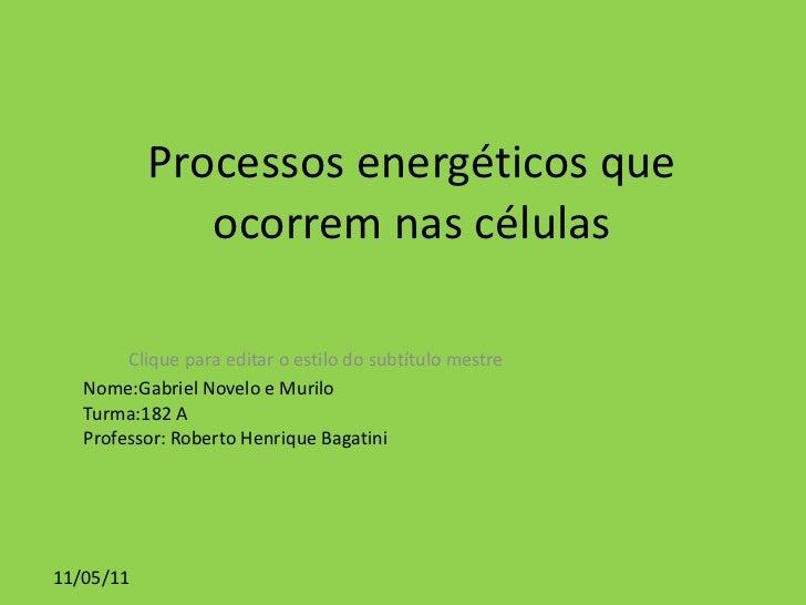 Processos energéticos que ocorrem nas células Nome:Gabriel Novelo e Murilo Turma:182 A Professor: Roberto Henrique Bagatini