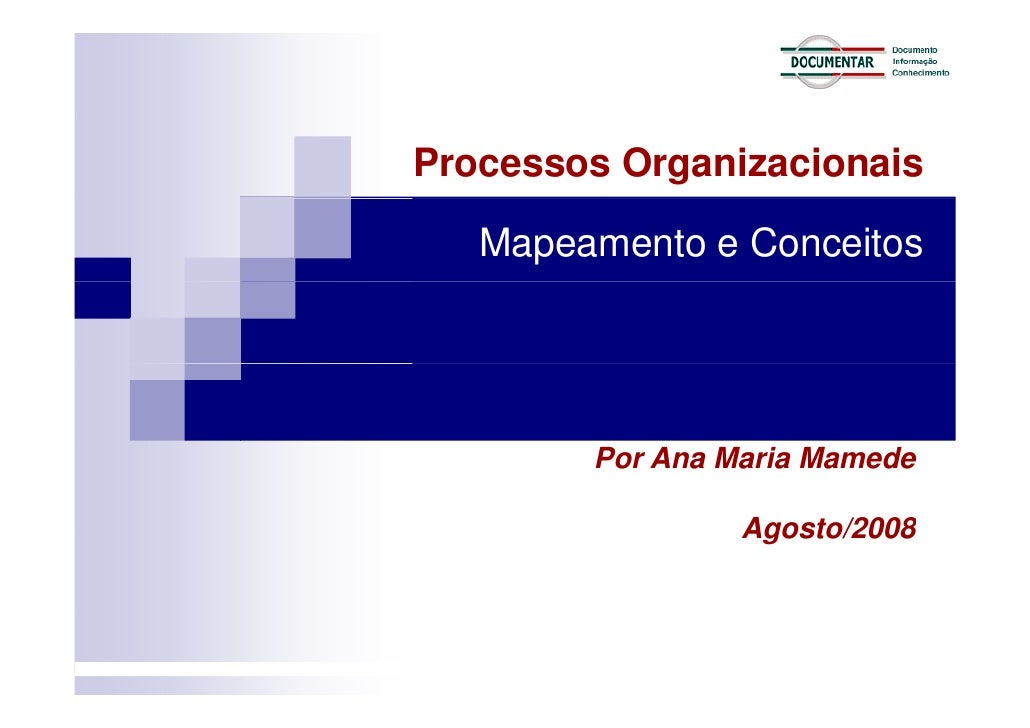 Processos Organizacionais     Mapeamento e Conceitos             Por Ana Maria Mamede                   Agosto/2008