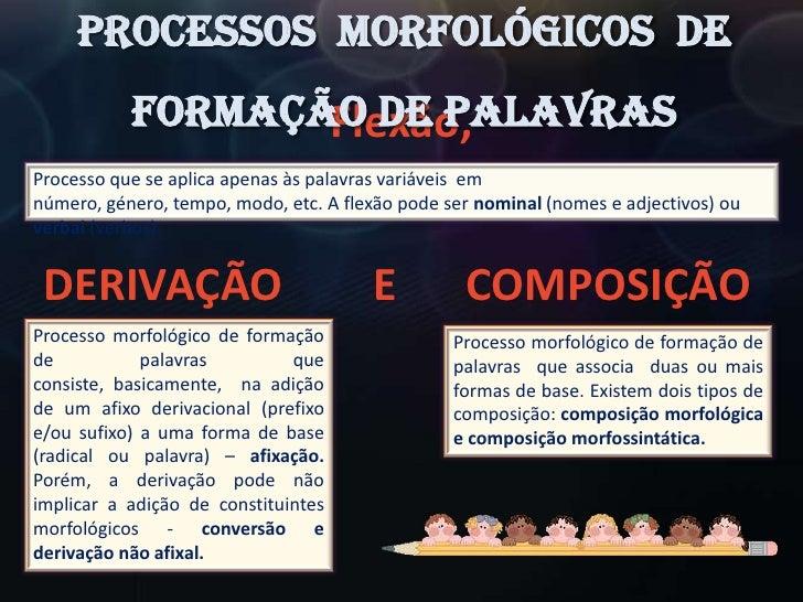 Processos  Morfológicos  de Formação de Palavras<br />Flexão,<br />Processo que se aplica apenas às palavras variáveis  em...