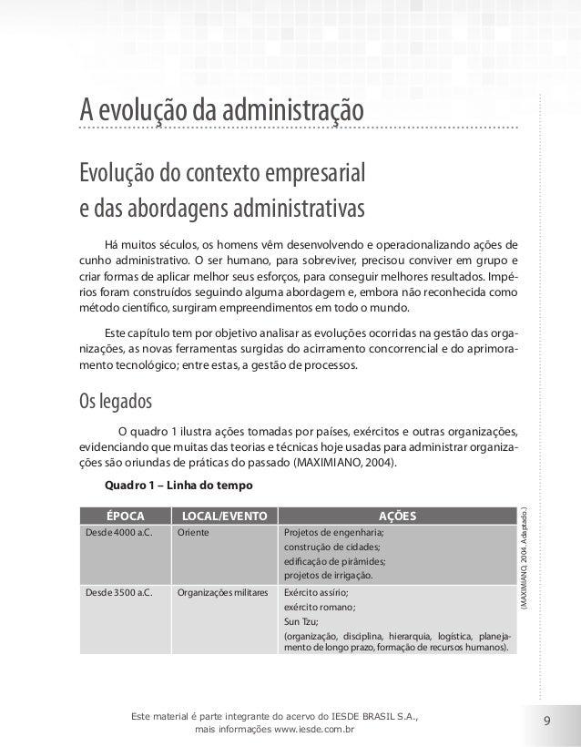 A evolução da administração Evolução do contexto empresarial e das abordagens administrativas Há muitos séculos, os homens...
