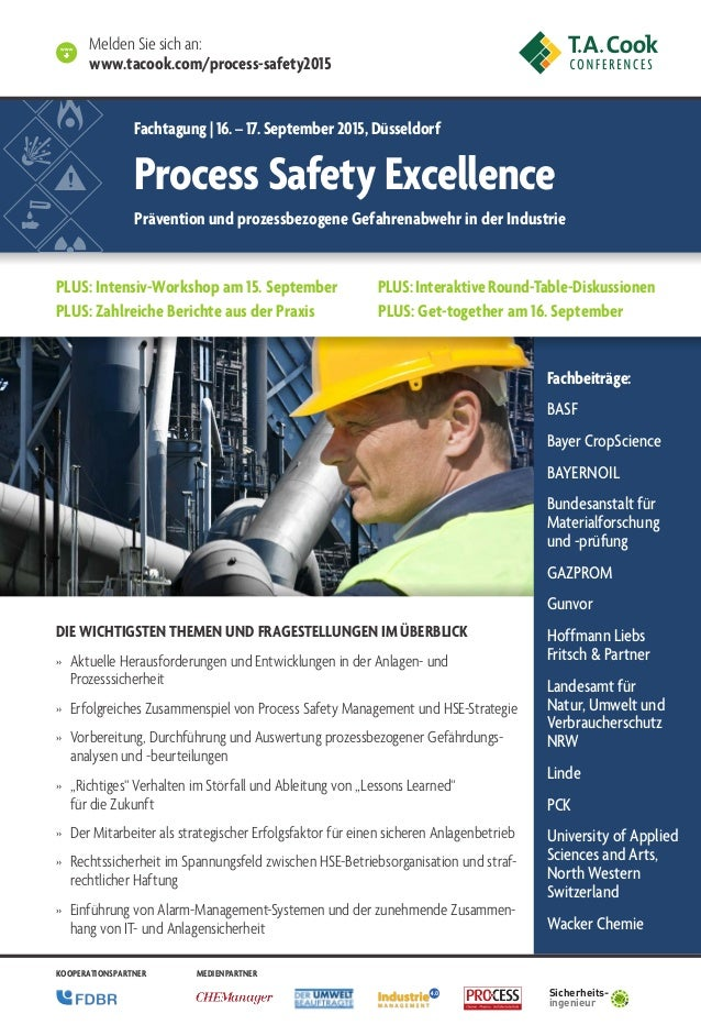World Class Process Safety Management 2013 Fachbeiträge: BASF Bayer CropScience BAYERNOIL Bundesanstalt für Materialforsch...