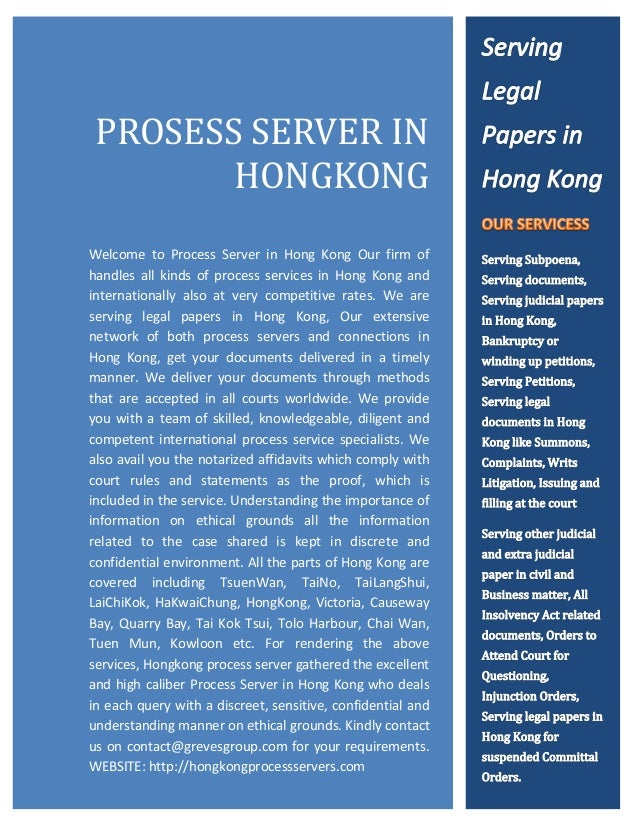 HTT      PROSESS SERVER IN             HONGKONG  Welcome to Process Server in Hong Kong Our firm of  handles all kinds of ...
