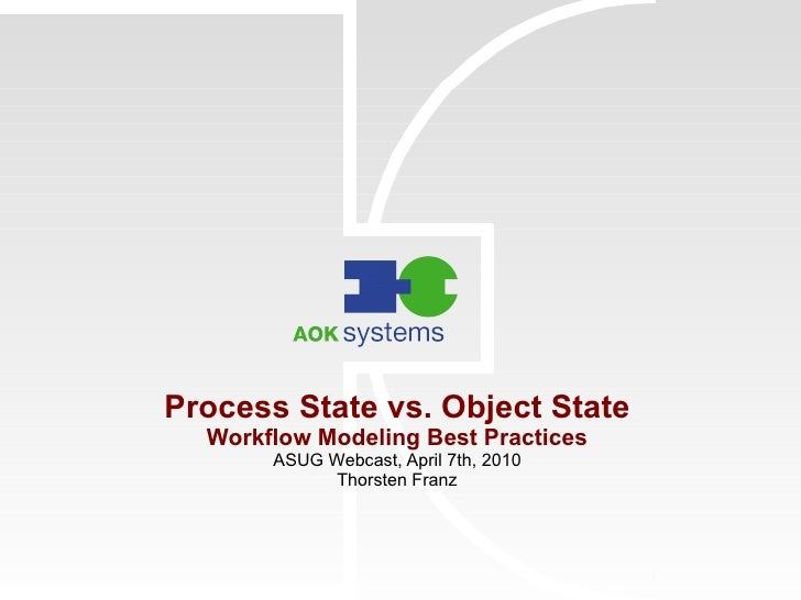 Process State vs. Object State Workflow Modeling Best Practices ASUG Webcast, April 7th, 2010 Thorsten Franz