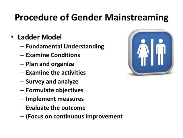 gender mainstreaming Gender mainstreaming refers to the process of incorporating a gender perspective to any action, policy, legislation or action in order to ensure that the concerns of all are addressed and that gender inequalities are not perpetuated through institutional means.