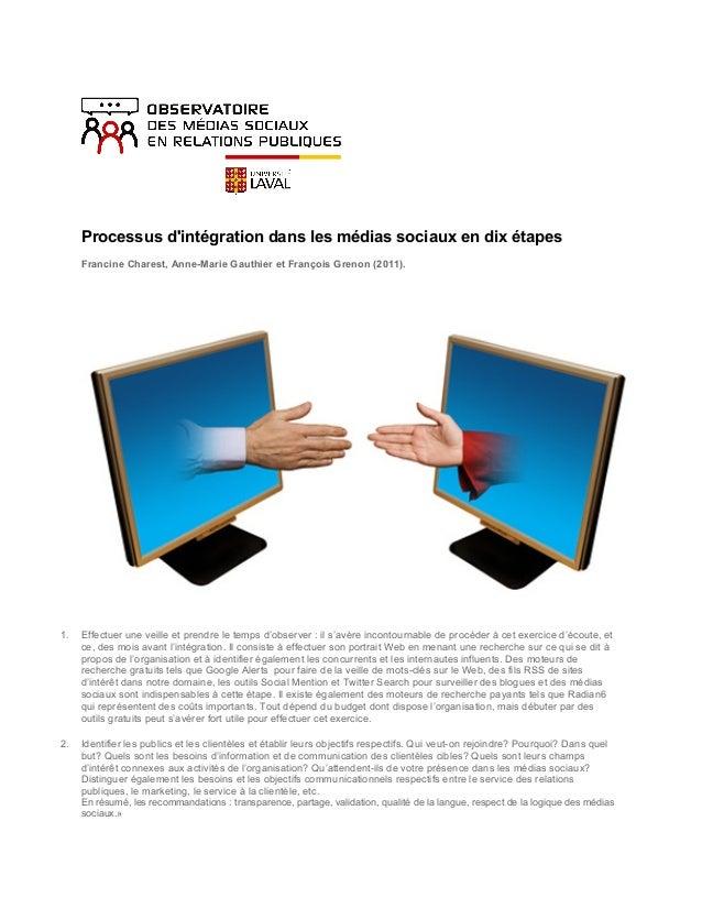 Processus d'intégration dans les médias sociaux en dix étapes Francine Charest, Anne-Marie Gauthier et Fr...