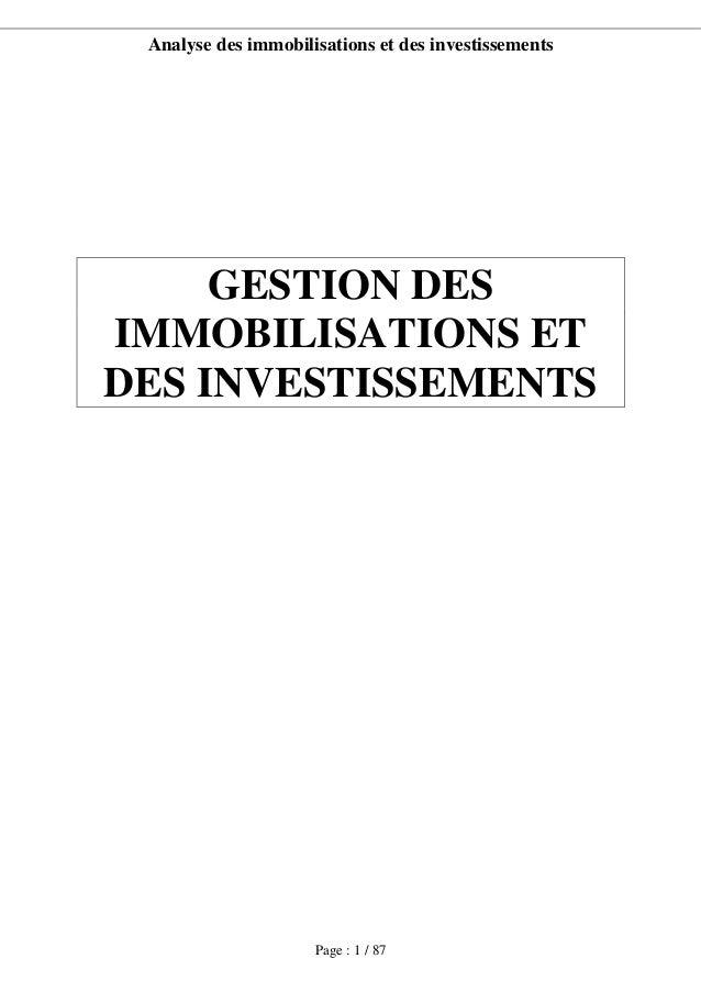 Analyse des immobilisations et des investissements Page : 1 / 87 GESTION DES IMMOBILISATIONS ET DES INVESTISSEMENTS