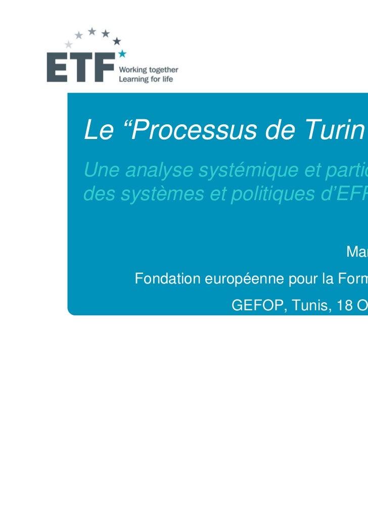 """Le """"Processus de Turin"""":Une analyse systémique et participativedes systèmes et politiques d'EFP                           ..."""