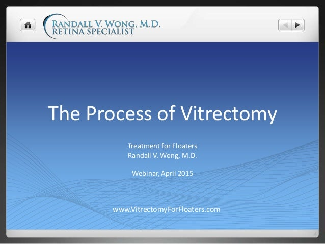 The Process of Vitrectomy Treatment for Floaters Randall V. Wong, M.D. Webinar, April 2015 www.VitrectomyForFloaters.com