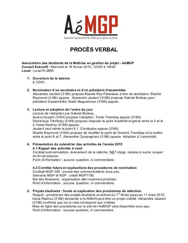 PROCÈS VERBAL    Association des étudiants de la Maîtrise en gestion de projet - AéMGP Conseil Exé...