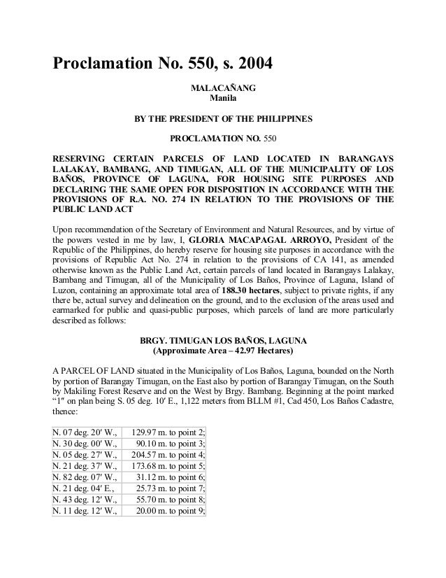 Proclamation No. 550, s. 2004MALACAÑANGManilaBY THE PRESIDENT OF THE PHILIPPINESPROCLAMATION NO. 550RESERVING CERTAIN PARC...