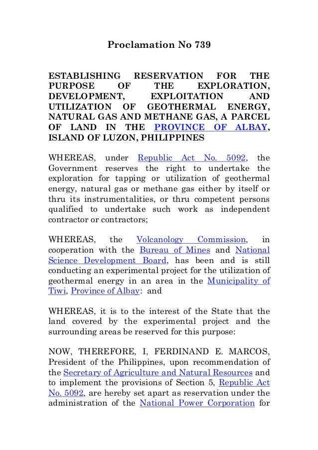 Proclamation No 739ESTABLISHING RESERVATION FOR THEPURPOSE OF THE EXPLORATION,DEVELOPMENT, EXPLOITATION ANDUTILIZATION OF ...