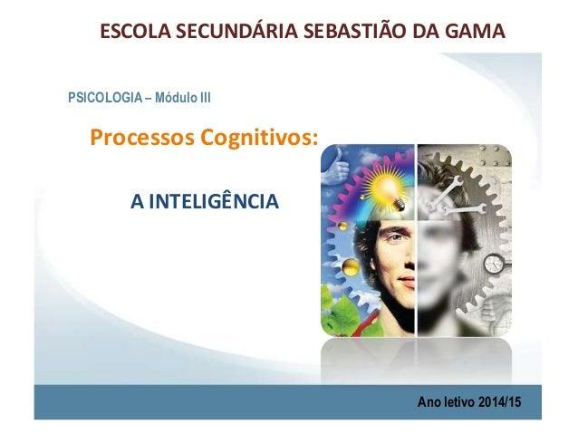 ESCOLA SECUNDÁRIA SEBASTIÃO DA GAMA  PSICOLOGIA – Módulo III  Processos Cognitivos:  A INTELIGÊNCIA  Ano letivo 2014/15