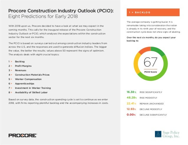 Procore Construction Industry Outlook (PCIO): Eight Predictions for Early 2018 With 2018 upon us, Procore decided to have ...