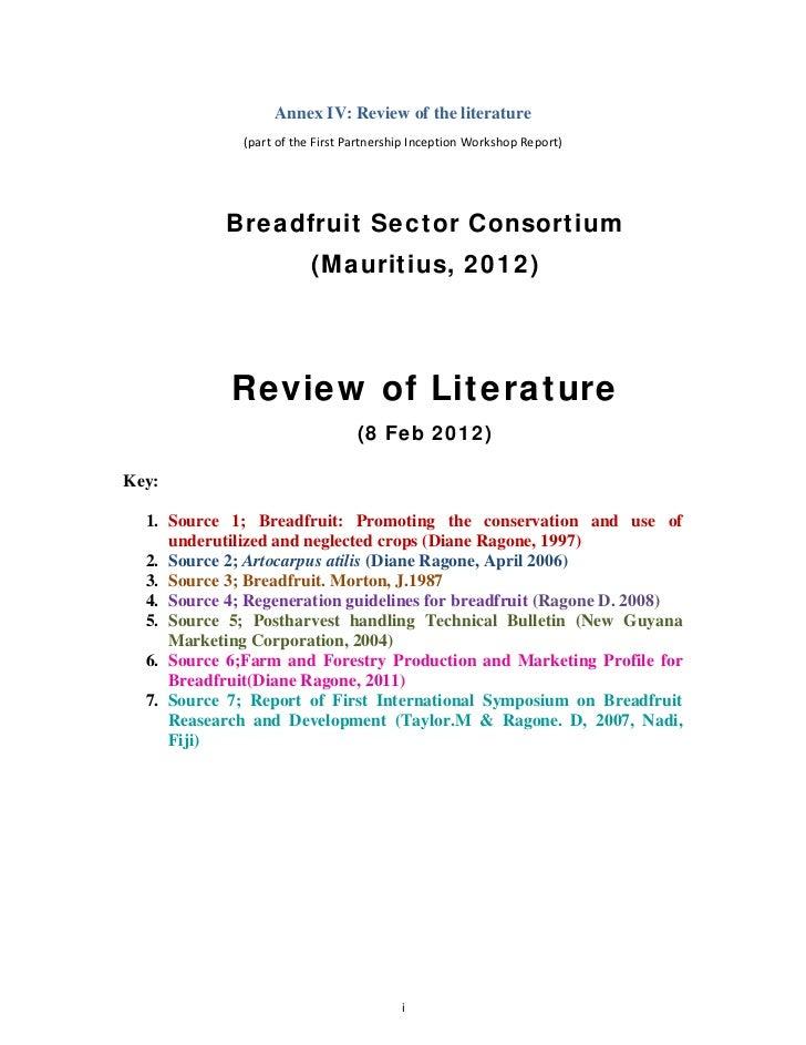 Annex IV: Review of the literature              (partoftheFirstPartnershipInceptionWorkshopReport)            Brea...
