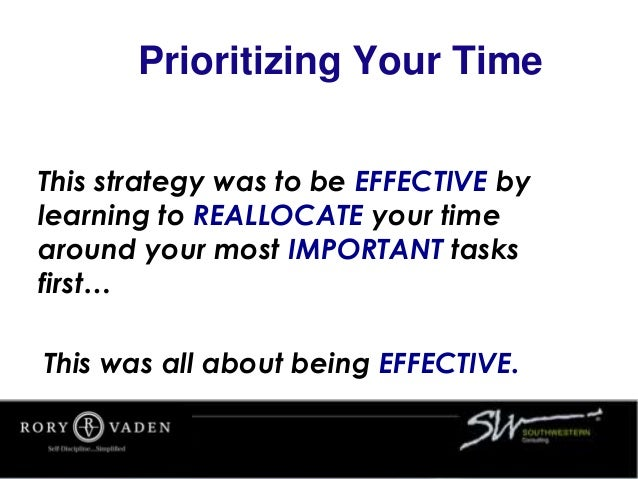 Prioritizing Your Time This strategy was to be EFFECTIVE by learning to REALLOCATE your time around your most IMPORTANT ta...