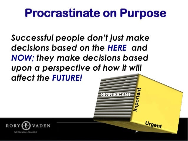 Successful people don't just make decisions based on the HERE and NOW; they make decisions based upon a perspective of how...