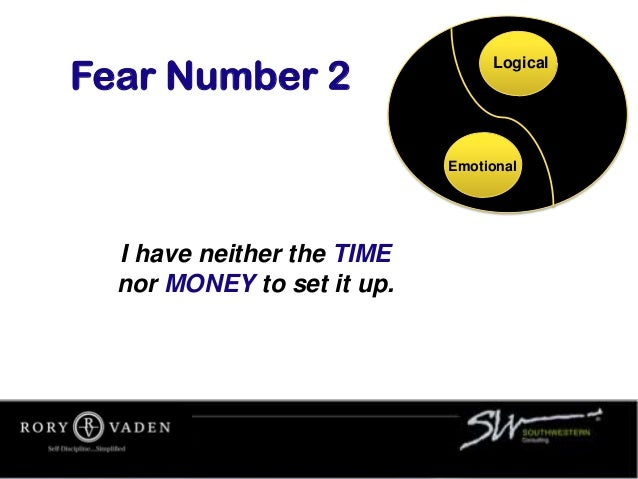 I have neither the TIME nor MONEY to set it up. Fear Number 2 Logical Emotional