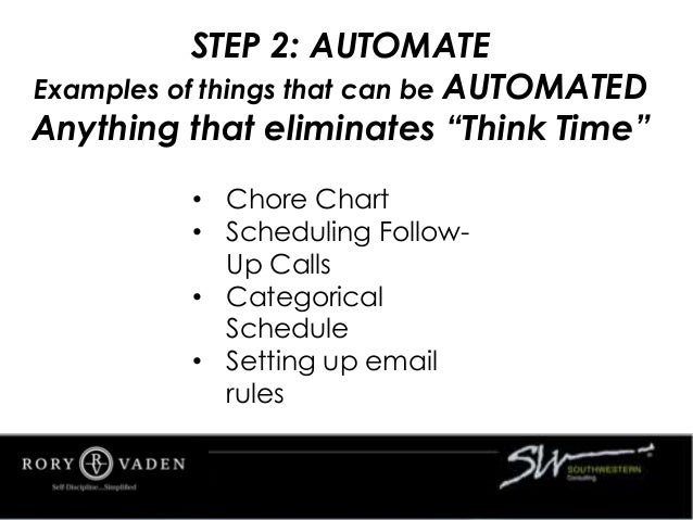 • Chore Chart • Scheduling Follow- Up Calls • Categorical Schedule • Setting up email rules STEP 2: AUTOMATE Examples of t...