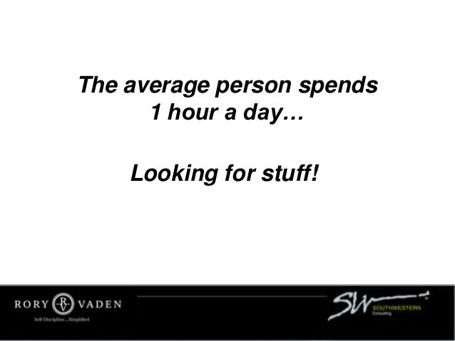 The average person spends 1 hour a day… Looking for stuff!