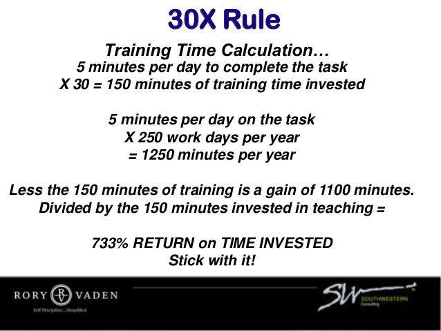 Training Time Calculation… 30X Rule 5 minutes per day to complete the task X 30 = 150 minutes of training time invested 5 ...