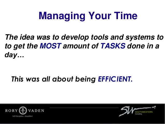 The idea was to develop tools and systems to to get the MOST amount of TASKS done in a day… Managing Your Time This was al...