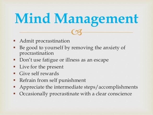 Management   Ef    Ef  A Admit Procrastination  Ef  A Be Good