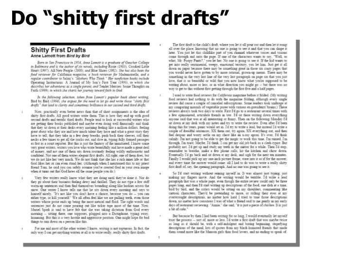 "HOW DOES""SHITTY FIRST DRAFT""HELP YOU UNDERSTAND YOUR OWN WRITING PROCESS?"