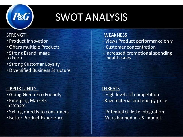 swot analysis of procter and gamble View mba fp6024_u05a1_swot analysis-attempt 1 from mba-fp 6024 at capella university procter and gamble analysis p&g wanda duncan mba fp-6024 procter and gamble (p&g) established 1837 headquarters.