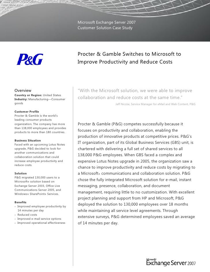 Microsoft Exchange Server 2007                                       Customer Solution Case Study                         ...