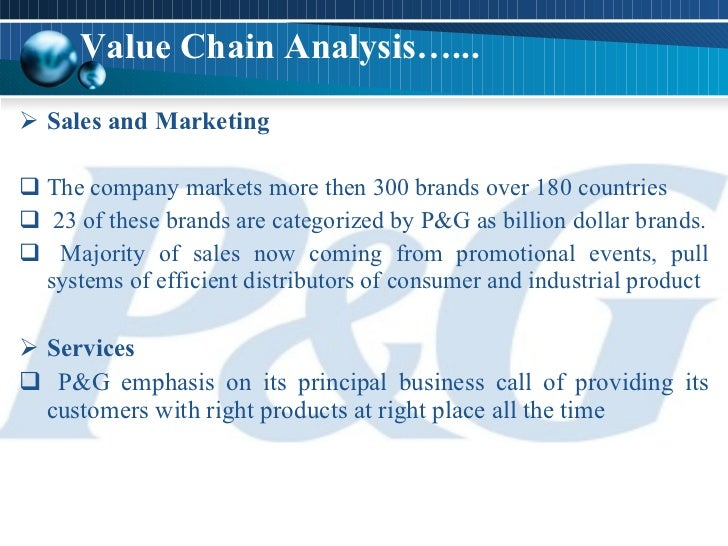 procter and gamble value chain analysis Procter & gamble national institute of standards and technology us resilience project 3 supply chain restructuring: p&g is currently undergoing one of the biggest supply chain redesigns in the company's history.
