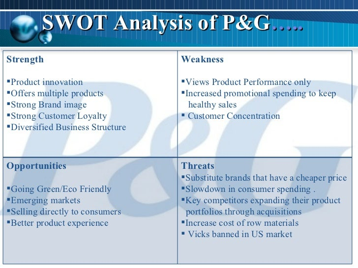 pest analysis of procter and gamble Procter & gamble's bold detergent products in a japanese store a pestel/pestle analysis of the procter & gamble company shows potential business growth, based on external factors in the remote or macro-environment of the consumer goods industry.