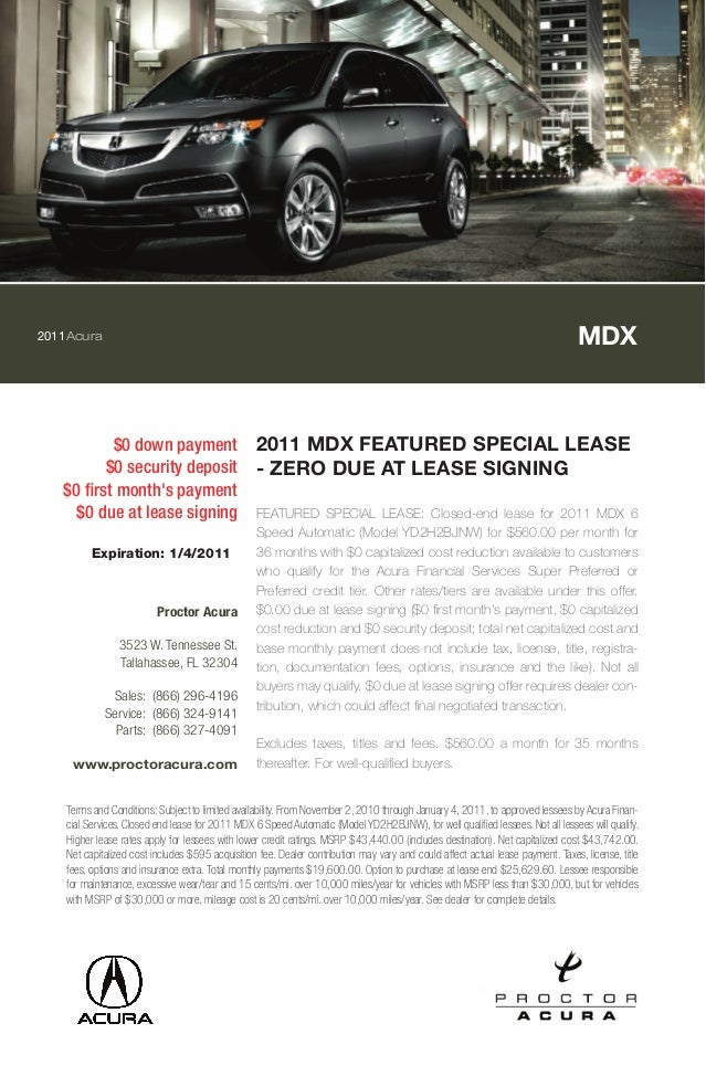 1 2011 acura mdx featured special lease zero due at lease signing. Black Bedroom Furniture Sets. Home Design Ideas
