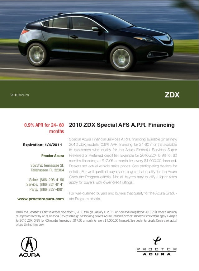 2010Acura ZDX 0.9% APR for 24- 60 months 2010 ZDX Special AFS A.P.R. Financing Special Acura Financial Services A.P.R. fin...