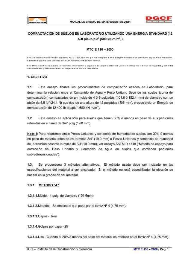 MANUAL DE ENSAYO DE MATERIALES (EM 2000) COMPACTACION DE SUELOS EN LABORATORIO UTILIZANDO UNA ENERGIA STANDARD (12 400 pie...