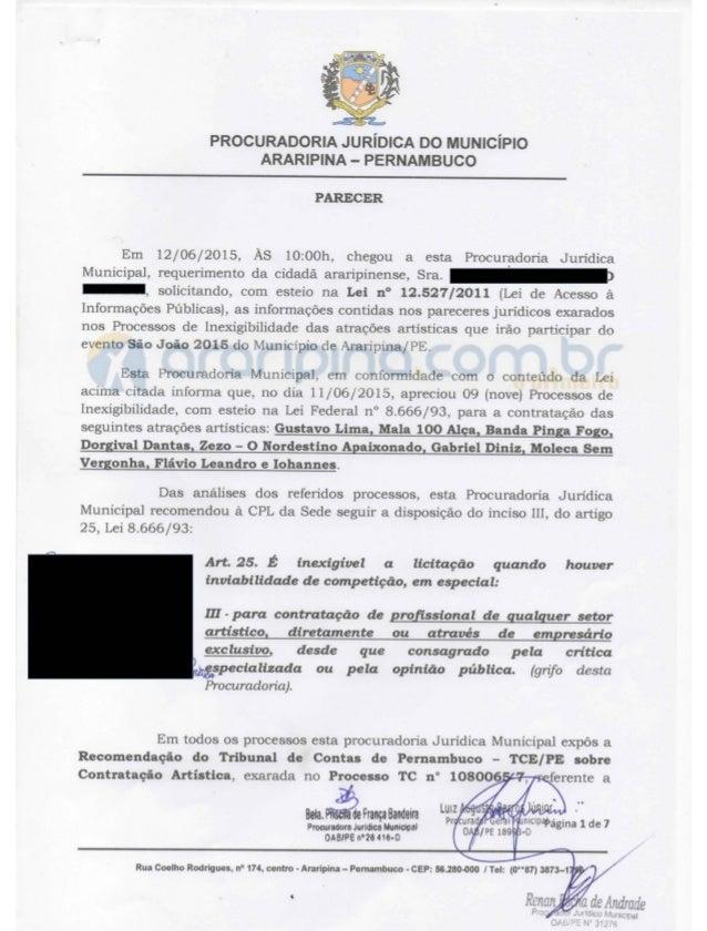"""I  A.  lah Axl é? ? .  P¡ .  e Pia/ k"""")  à  PROCURADORIA JURÍDICA DO MUNICÍPIO ARARIPINA - PERNAMBUCO    PARECER  Em 12/06..."""