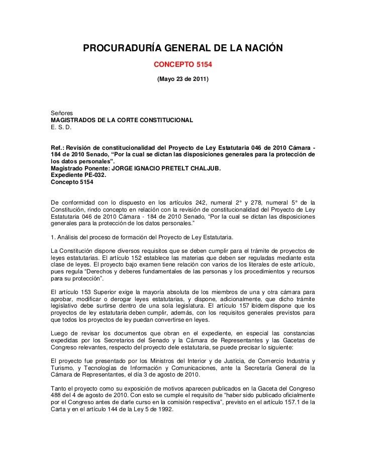 PROCURADURÍA GENERAL DE LA NACIÓN<br /><br />CONCEPTO 5154<br /><br />(Mayo 23 de 2011)<br /><br /><br /><br /><br /...
